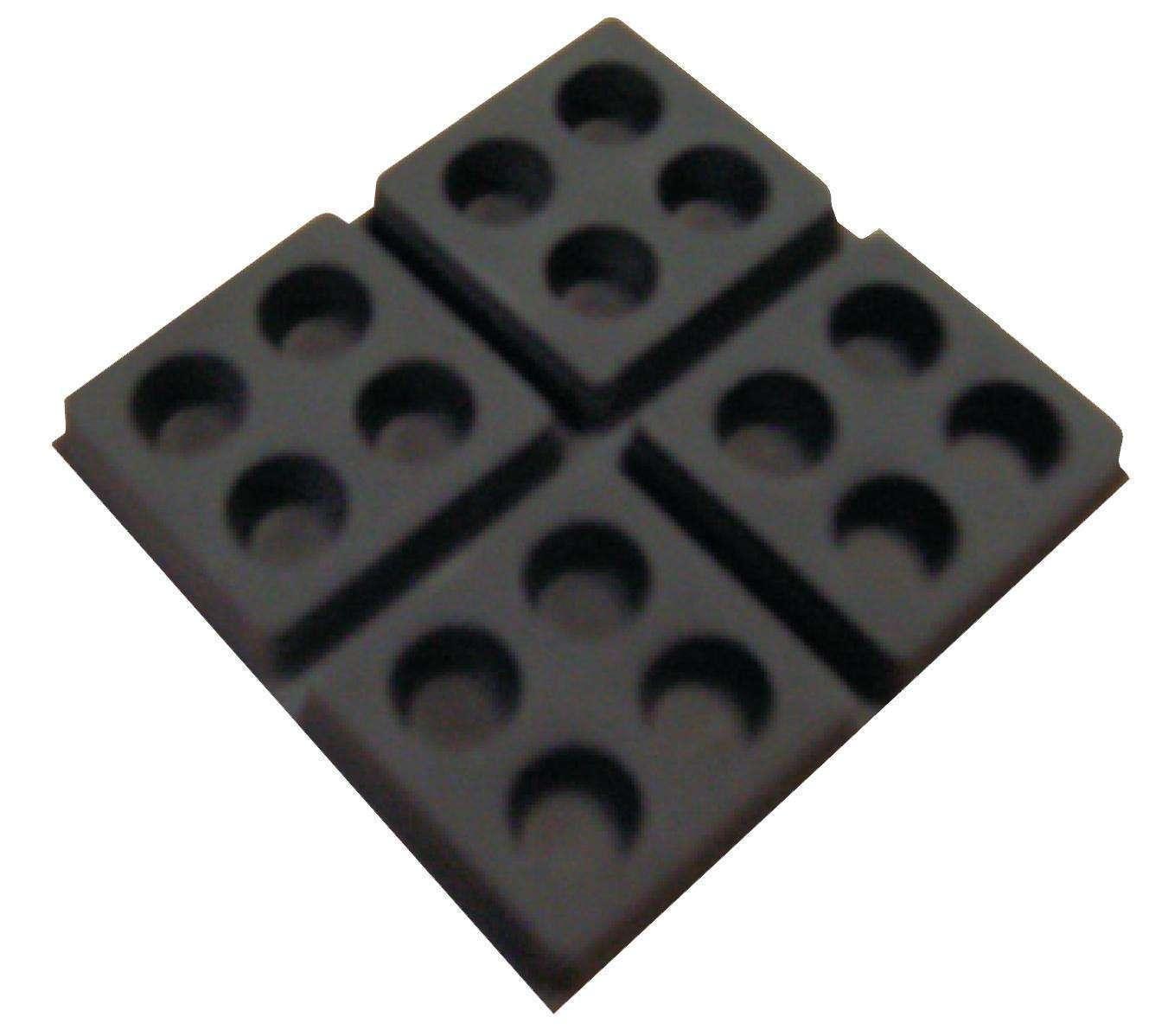 Plot amortisseur pour caisson elastomère
