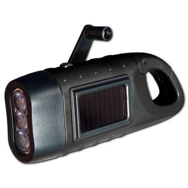 Lampe solaire dynamo 3 led avec mousqueton