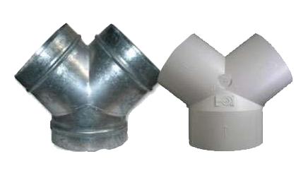 Dérivation PVC ou acier galva unelvent