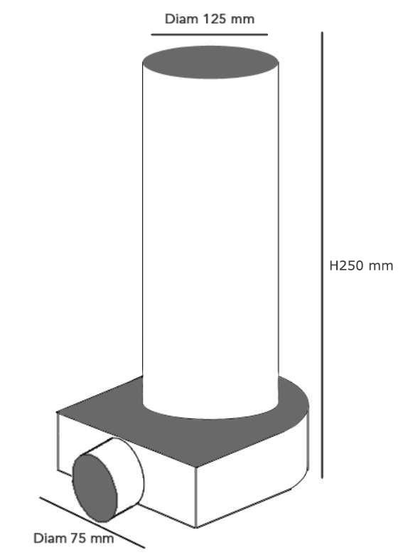 Plenum terminal coudé Diam 1x75/125 mm