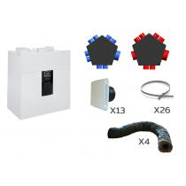 VMC double flux très haut rendement IDEO 325 Ecowatt Radio Unelvent pour tout type de maison individuelle avec kit réseau de distribution par répartiteur 8 piquages et gaines