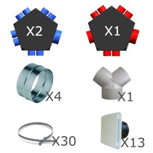 Kit accessoires réseau VMC DF 2x8 piquages 600060 unelvent