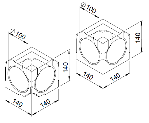 2 Coudes intérieurs 90° DN100 3075 helios