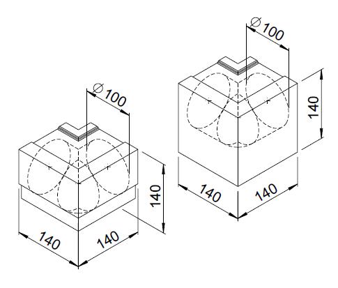 2 Coudes extérieurs moulurés 90° DN100 3078 helios