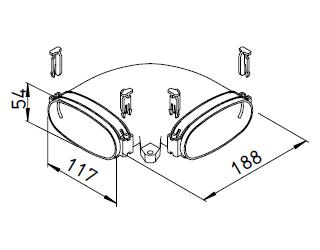 FlexPipe® FRS-BH 51 HELIOS VENTILATEURS Coude horizontal pour conduit 114x51