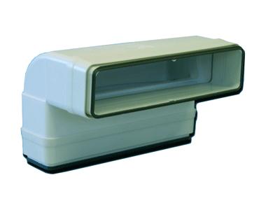 Coude 90° vertical rectangulaire 55x220 plastique à joints 460057
