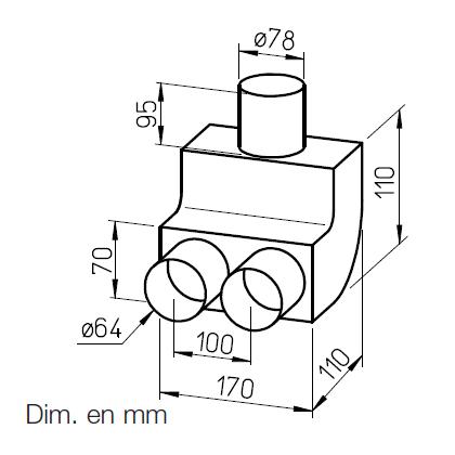 Coude vertical 90° pour conduit FRS⌀63 9341 helios