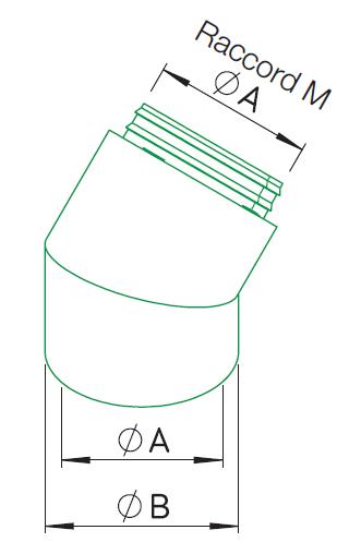 Coude 45° ⌀180 + raccord Mâle 9450 helios