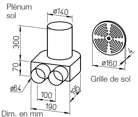 Kit plénum sol DN160 pour conduit FRS⌀63 9991 helios