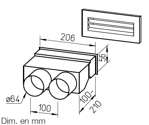 Kit plénum mural droit pour conduit FRS⌀63 9993 helios