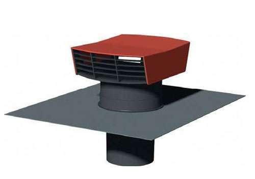 Chapeau de toiture D125 plastique rouge