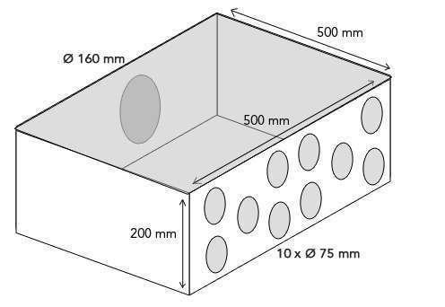Plenum intermédiaire 10x75/160