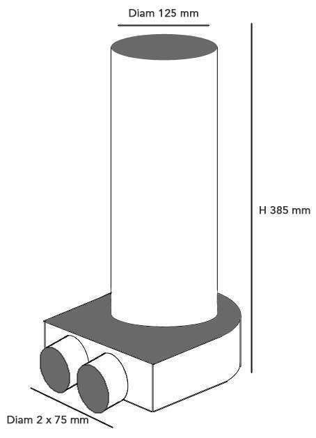 Plenum terminal coudé 2x75/125