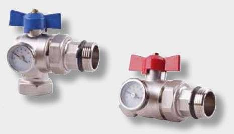 2 vannes droites chromées avec thermomètre