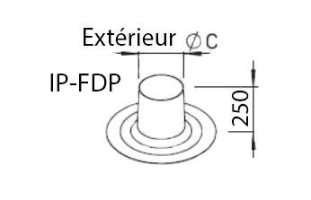 Sortie toit plat pour chapeau ⌀160/180 ip fdp helios