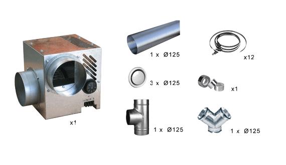 Kit distribution air chaud 3 bouches DIFUZAIR D 520 55189