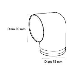 Plenum terminal coudé Diam 1x75/80 mm econoname