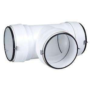 Té 90° horizontal circulaire ⌀125 plastique à joints