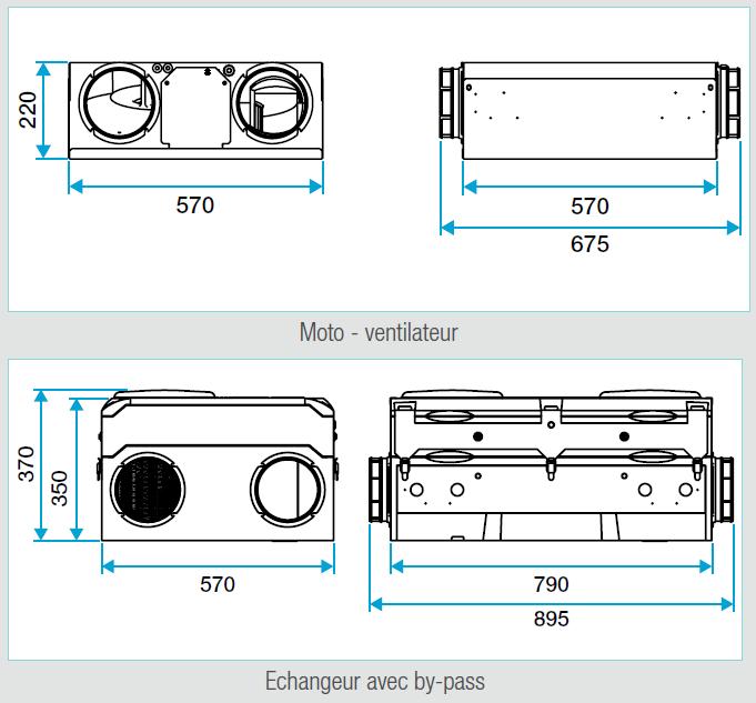 modulo auto aldes dimensions