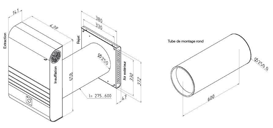 comfoair 70 zehnder dimensions
